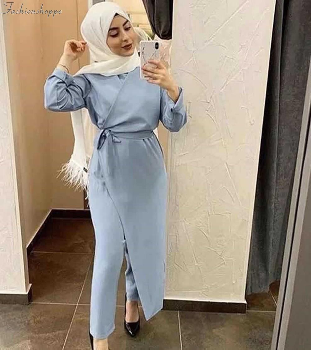 Eid Mubarak Kaftan Dubai Abaya Turkey Muslim Fashion Hijab Dress Sets Islam Clothing Abayas For Women Musulman Ensembles De Mode