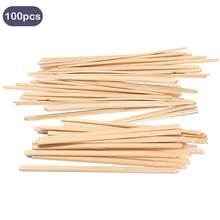 Behogar 100 pçs 14cm de madeira café chá sorvete picolé lolly varas bebidas agitar agitadores diy mão fazer artesanato varas ferramentas