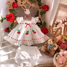 2020summer New Custom Vintage Baby Cotton Suit Cherry Embroidered Princess Dress Girls Christmas Outfit Boutique Kids Clothing 6p510 wholesale baby kids boutique clothing lots