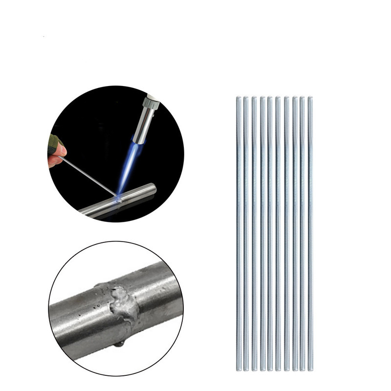 10pcs 50cm Silver Low Temperature Aluminum Solder Rod Welding Wire Flux Cored Soldering Rod No Need Solder Powder 1.6 2.5 3.2 Mm