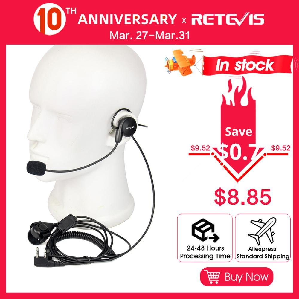 Retevis 2 Pin Earpiece Mic Finger PTT Headset For Kenwood BAOFENG UV-5R BF-888s Retevis H777 TYT Ham Radio Walkie Talkie Headset
