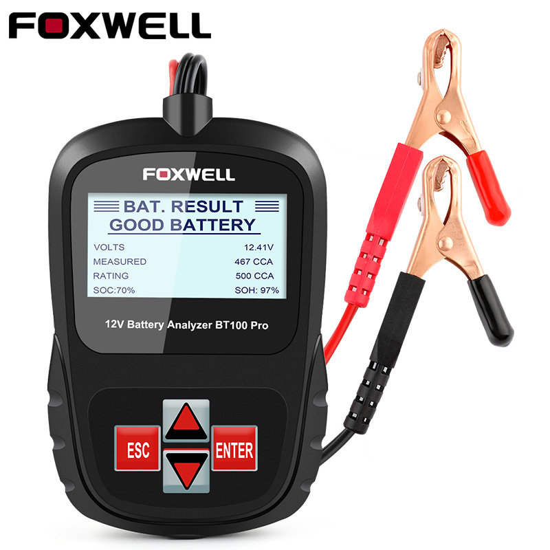 FOXWELL BT100 PRO 12V Car Battery Tester For Flooded AGM GEL 100 To 1100CCA 200AH Test Battery Health Analyzer Diagnostic Tool