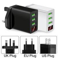 UK EU UNS Stecker 3 Multi-Ports Schnelle Schnell Ladegerät USB Hub Wand Adapter Universal Led-anzeige Tragbare USB transformator Netzteil