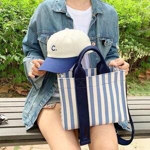 Image 2 - מרובה כיס פס Tote תיק מקרית בד רך Crossbody שקיות עבור נשים אופנה קוריאני נייד כתף תיק