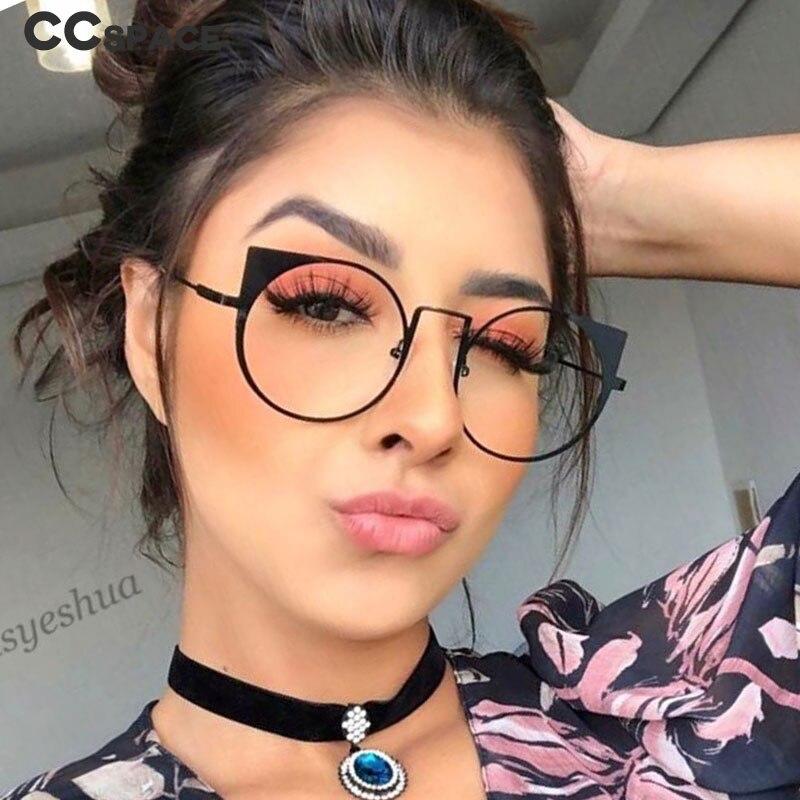 48061 Plastic Titanium Glasses Frames Cat Eye Round Ultralight Men Women Optical Fashion Computer Glasses