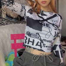 ArtSu Harajuku Printed Tshirt Black Long Sleeve Crop Top Graphic Tees Fashion Vogue T shirt Streetwear T-shirt Femme ASTS21235(China)