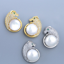 Womens Earrings Pearl Stud With Stones Animal Cubic Zircon Gold Jewelry Accesorios mujer ers-r76