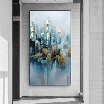 American Impression Of Pure hand-painted Oil Painting Decorative Building Entrance Mural Paintings Of large-size Office Study