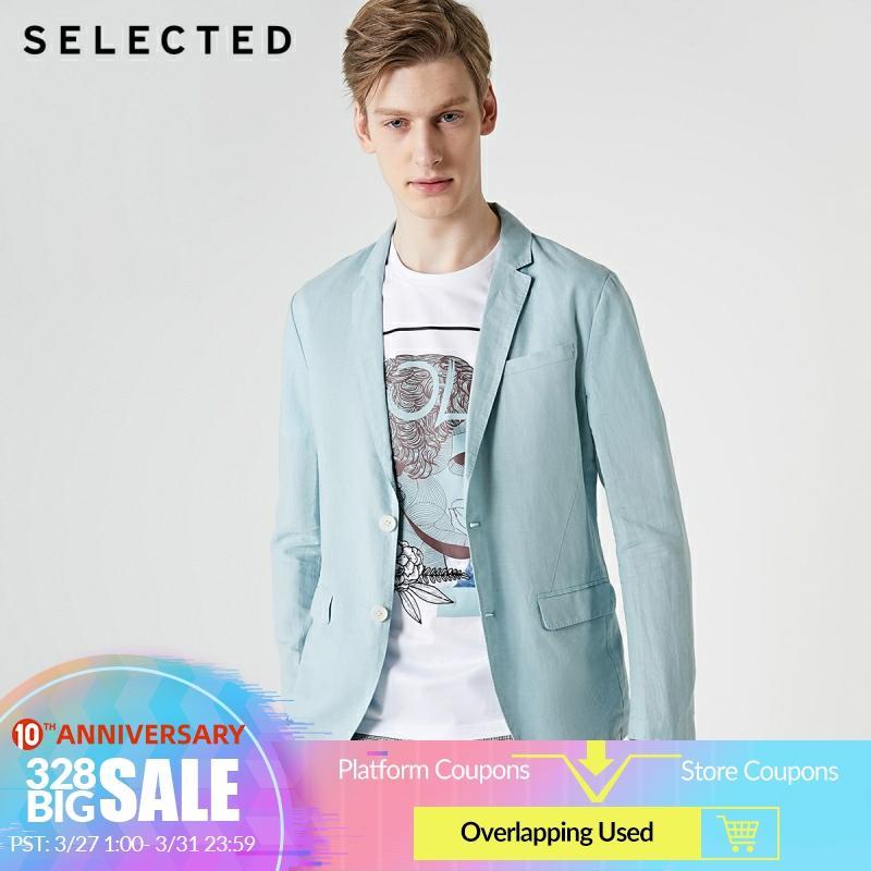 SELECTED Men's Cotton & Linen Blended Slim Fit Blazer Jacket S 419208512