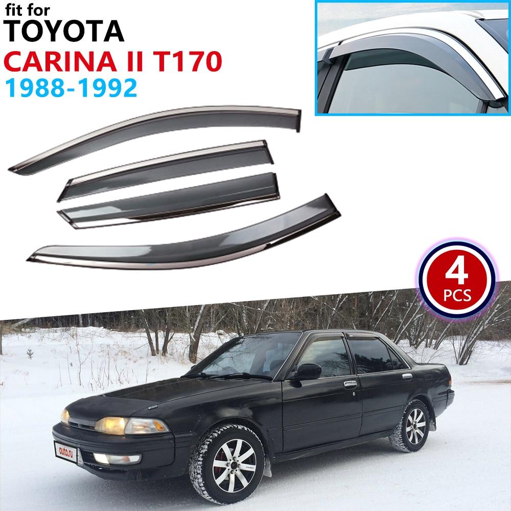 Otomobiller ve Motosikletler'ten Araba Çıkartmaları'de Toyota Carina II 2 Corona T170 1988 1989 1990 1991 1992 pencere Visor havalandırma tenteler yağmur Guard saptırıcı barınakları aksesuarları title=
