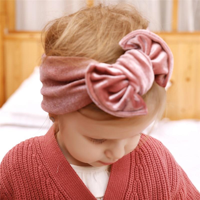 New Baby Headbands Gold Velvet Hairbands Newborn Baby Turban Infant Toddler Elastic Hair Bands Baby Girl Hair Accessories