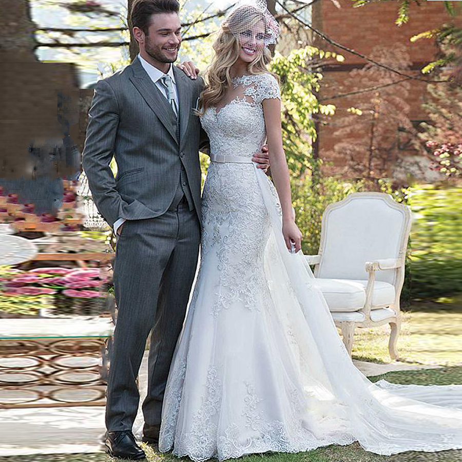 Buy Tulle Scoop Neckline 20 In 20 Wedding Dress With Lace Appliques ...