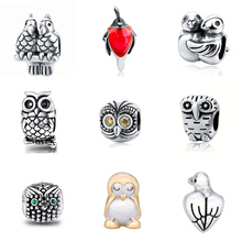 Hot sale Fit Authentic Pandora charm Bracelets Silver 925 Original birds Charm Beads  Diy Jewelry making Gifts free shipping