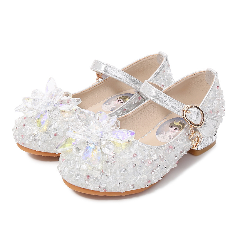 High-end Children High-heeled Girls Princess Crystal Banquet Shoes Spring/autumn Kids Students Performing Dance Leather Shoes