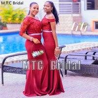 Long Burgundy Mermaid African Bridesmaid Dresses Half Sleeve Elastic Satin Lace Plus Size Maid Of Honor Dress Wholesale