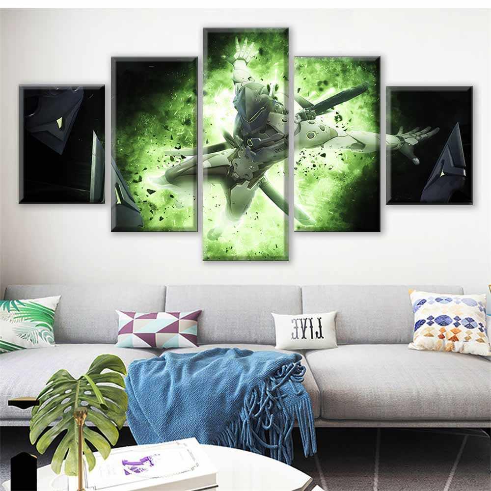 Duvar Sanatı Ev Dekor Boyama HD 5 Panel OW Genji video oyunu Baskı Posteri Tuval Cuadros Modüler Resim Oturma Odası