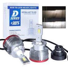 2PCS D2S D3S תקע ולשחק LED הנורה החלפת המקורי HID D1S D2R D4S D4R D5S D8S Built בcanbus Led פנס 6000K 15000LM