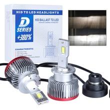 2 pces d2s d3s plug and play lâmpada led substituição original hid d1s d2r d4s d4r d5s d8s embutido canbus led farol 6000k 15000lm