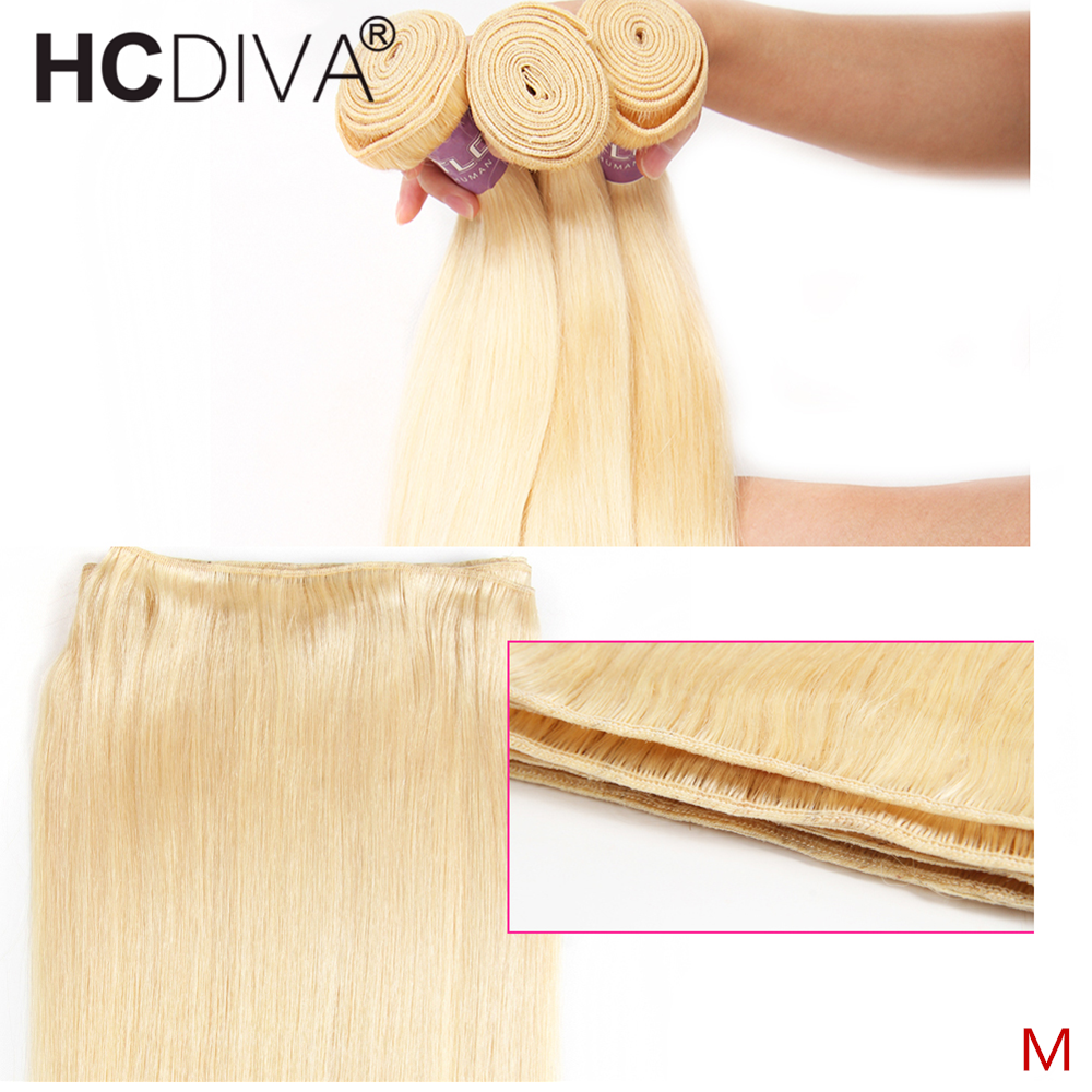 613 Color Straight 1 3 4 Bundles Brazilian Remy Human Hair Weave 28 30 Inch Blonde Human Hair Extensions Middle Ration For Women