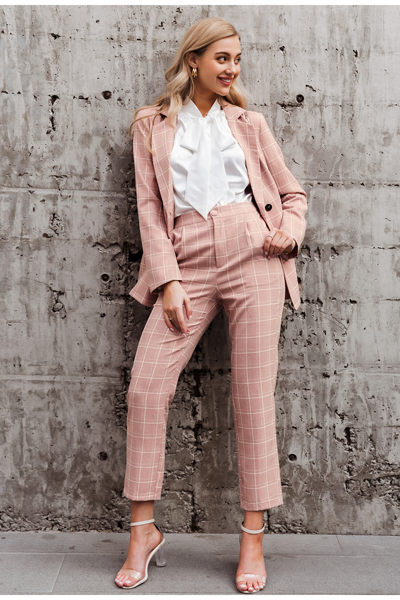 Hf8a89e00d56d4e979ba6f8cd2753000d8 - Simplee Fashion plaid women blazer suits Long sleeve double breasted blazer pants set Pink office ladies two-piece blazer sets