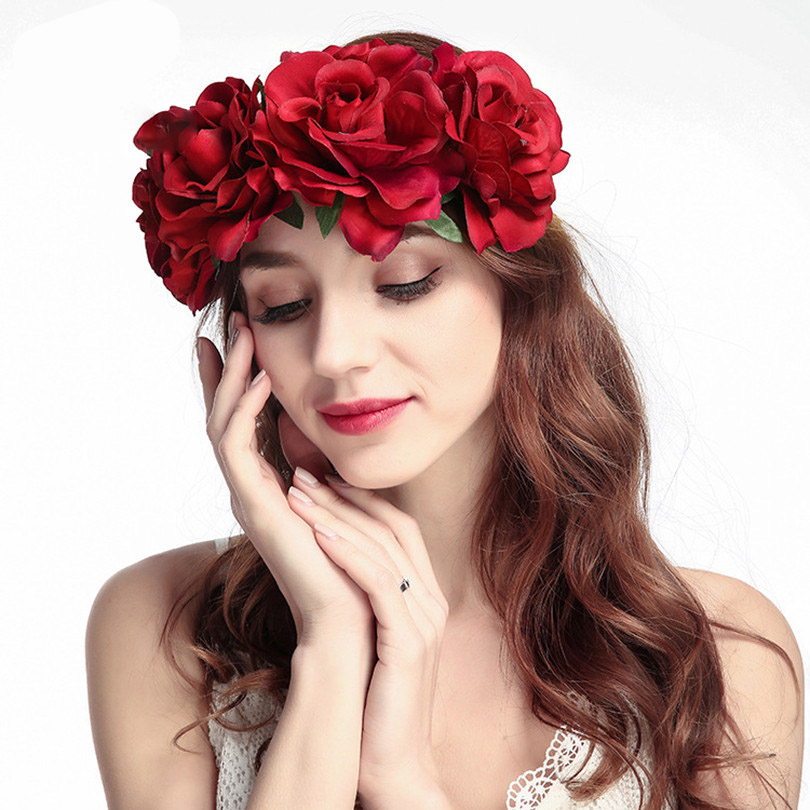 heimaiekng Red Rose Flower Headband Head Band Floral Head Wreath Headpiece Girls Hair Accessories Bridal Wedding   Headwear