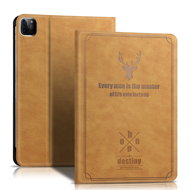 brow Gray Case For iPad Pro 12 9 new 2020 Protective Cover PU Leather Case For New ipad