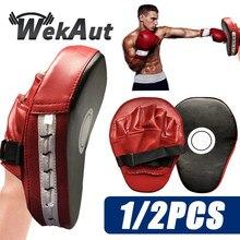 Muay Thai-Muay Thai de boxeo curvo, deflector curvo resistente a los golpes, entrenamiento Sanda, de cuero PU, objetivo de mano de 5 dedos