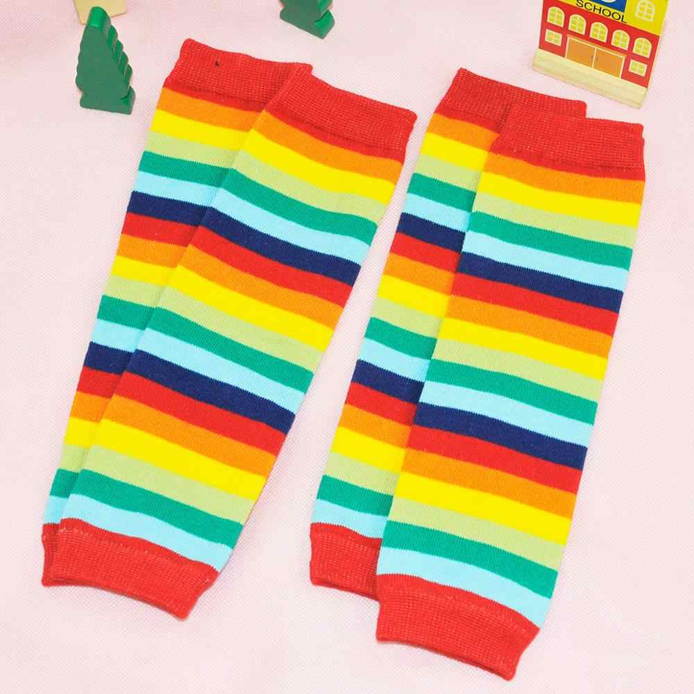 Bebek bacak ısıtıcıları kız pamuk çorap çocuk gökkuşağı çizgili emekleme diz pedleri renkli örme tayt kış yumuşak çorap