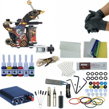 Complete Starter Tattoo Kit Mini Tattoo Power Supply Tattoo Kit Set Grips Needles Tips Supplies Permanent Make Up Body Art Tools цена в Москве и Питере