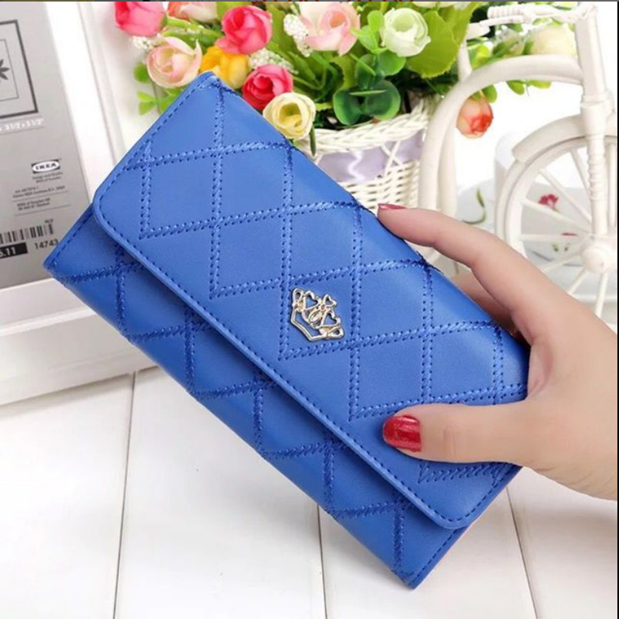 Women's Wallet Wallet Plaid PU Leather Long Wallet Buckle Phone Bag Money Coin Pocket Card Holder Women Wallet