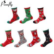 PEONFLY Novelty Happy Funny Women's Christmas Socks Casual C