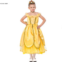 S XXL Gold Girls Halloween Princess Costumes Kids Children Queen Cosplay Carnival Purim parade Masquerade Role play party dress