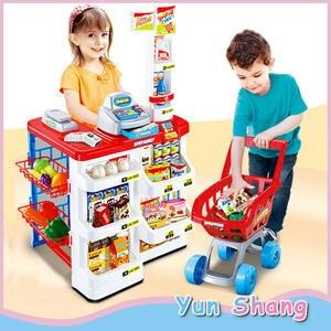 Cash Register Trolley Simulation Supermarket Toys-Set Pretend Role-Play Kids Children