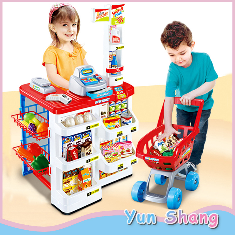 Pretend Role Play Simulation Supermarket Toys Set Kids Children Simulation Cash Register Supermarket Shopping Cart Trolley Gifts