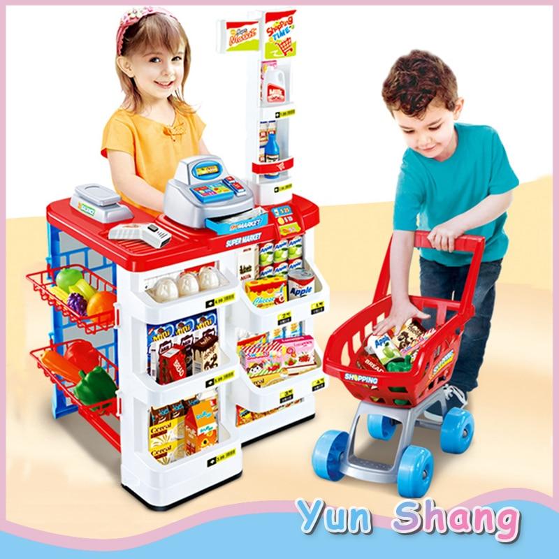 Pretend Role Play Simulation Supermarket Toys Set Kids Children Simulation Cash Register Supermarket Shopping Cart Trolley Gifts