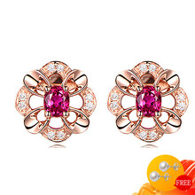 New 925 Silver Jewelry Earrings Accessories Flower Shape Created Ruby Zircon Gemstone Stud Earrings for Women Wedding Engagement