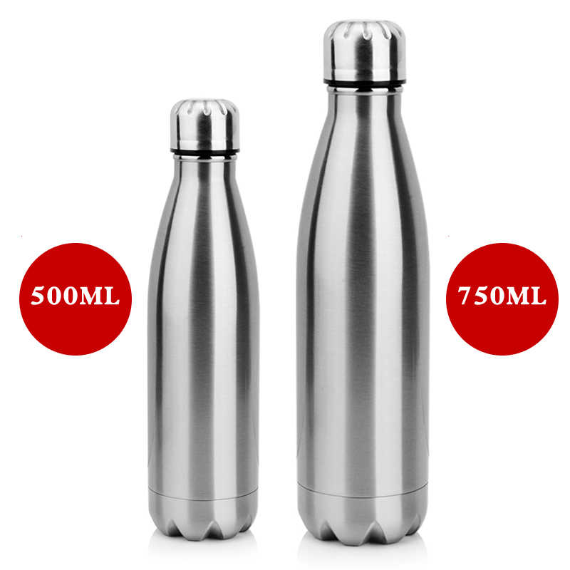 2019 350ML/750ML Stainless Cola Motion Sports Water Bottle Rugged Water Cup Monolayer Metal Color Cola Drink Bottle Drinkware