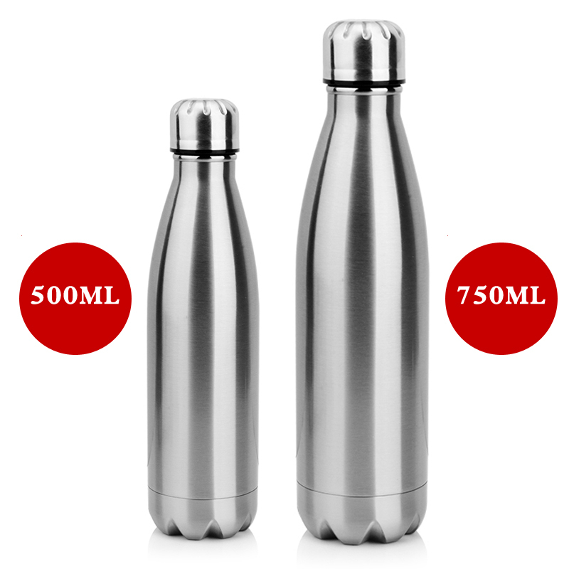 2019 350ML/750ML Stainless Cola Motion Sports Water Bottle Rugged Water Cup Monolayer Metal Color Cola Drink Bottle Drinkware-in Water Bottles from Home & Garden on AliExpress