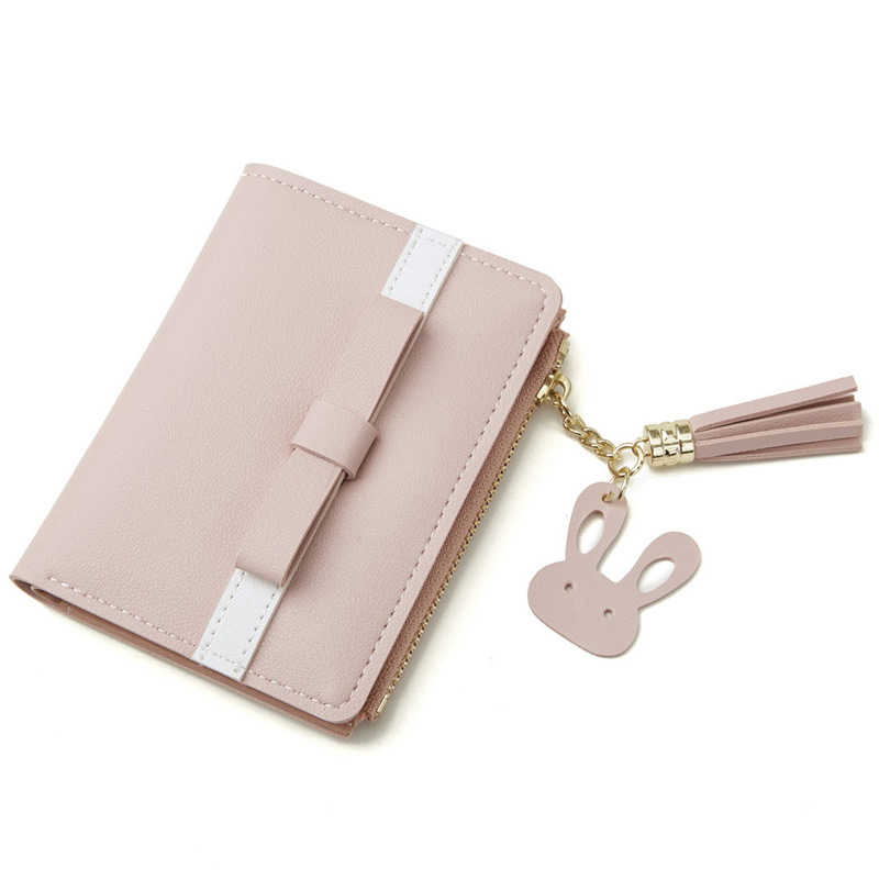 Fashion Fresh Women Wallets Personlity Tassel Bow Short Zipper Purse Multi-card Position Card Holder Brief Female Coin Purse
