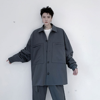 2020 New Men Japan Style Casual Loose Long Sleeve Shirt Style Cargo Jackets Over Coats Male Vintage Streetwear Hip Hop Outerwear