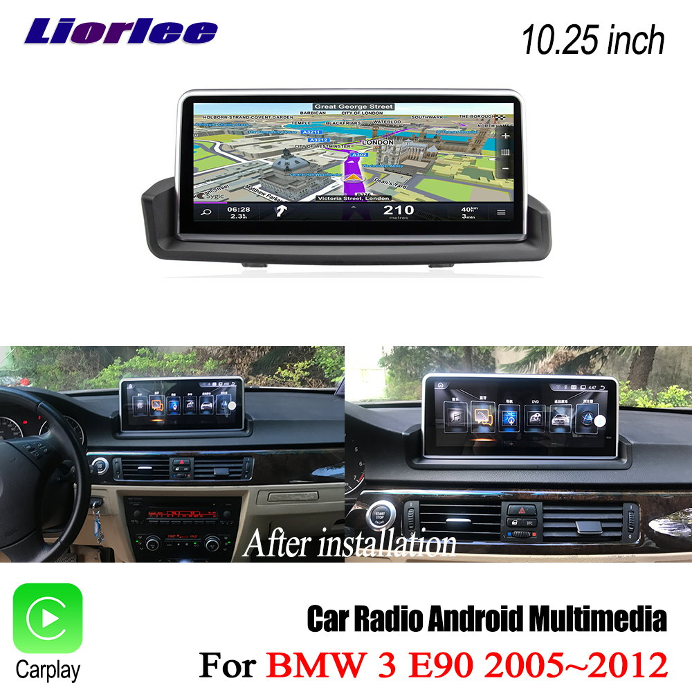 Liorlee Car GPS Navigation System For <font><b>BMW</b></font> 3 Series <font><b>E90</b></font> 2005-2012 Touch Screen Car Android Radio Stereo Audio Multimedia Player image