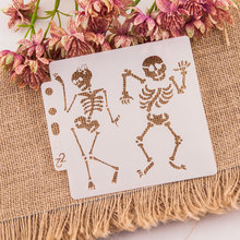 Halloween Skeleton DIY Layering Stencils Wall Painting Scrapbooking Coloring Embossing Crafts Album Decor Paper Card Template love cat heart sticker painting stencils for diy scrapbooking stamps home decor paper card template decoration album crafts art
