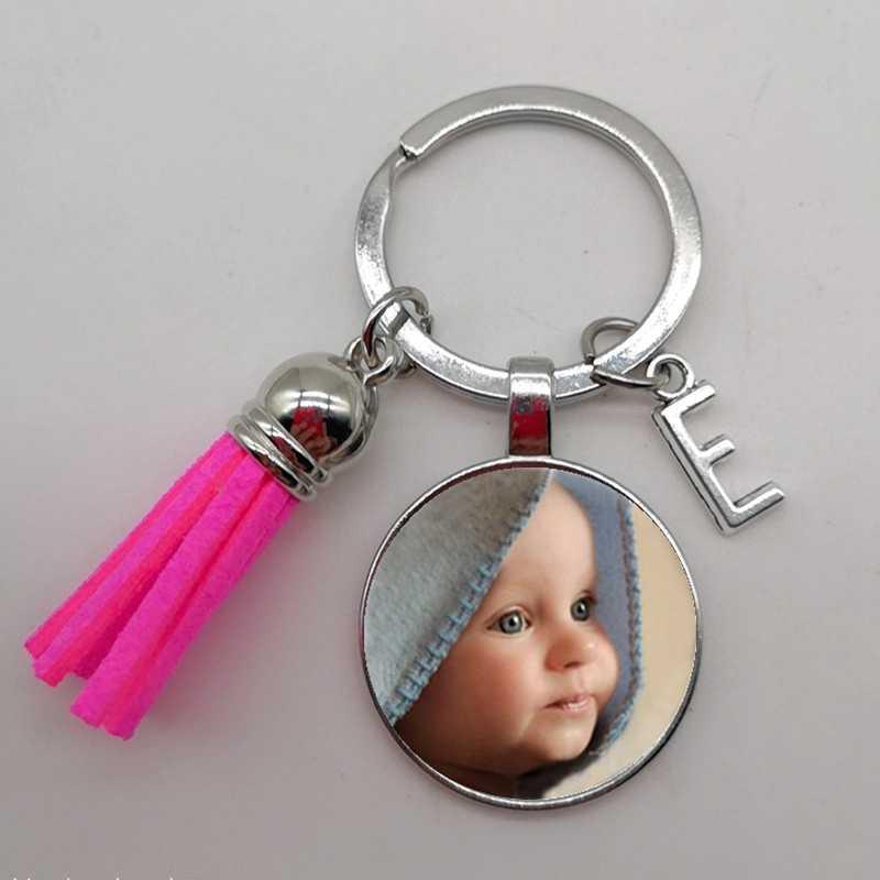 מצויץ A-Z מכתב Keychain משופר מהדורת DIY תמונה תליון תינוק Keychain תמונה אבא אמא וסבתא הורים אהבה מתנה