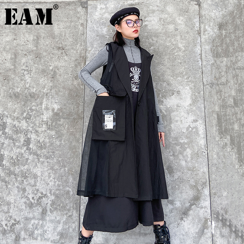 [EAM] Women Black Pattern Printed Big Size Long Loose Fit Vest New Lapel Sleeveless   Fashion Tide Spring Autumn 2020 1R512
