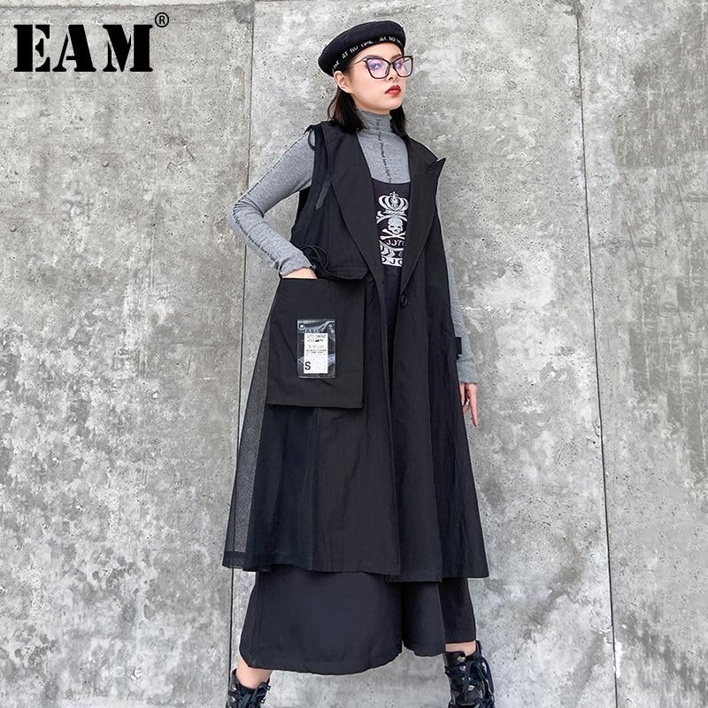 [EAM] Women Black Pattern Printed Big Size Long Loose Fit Vest New Lapel Sleeveless   Fashion Tide Spring Autumn 2020 1R512