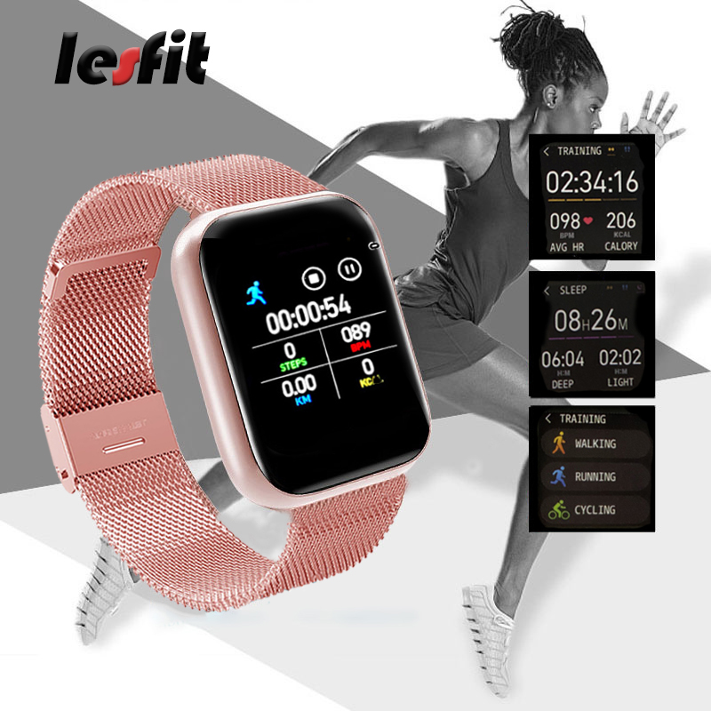cheapest Lesfit Pink Stainless Steel Smart Women Watch For Android Electronics Smartwatch Men Clock Fitness HR BP Rate Tracker Wristbands