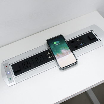 New type electric flip up power socket with integrated wireless charging for conference table /Office desk power and data socket 2018 new automatic pop up socket air spring up table socket with three power usb charging port for kitchen smart home