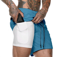 Quick Dry 2 in 1 Men Double-deck Sports Running Shorts Activ