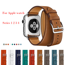 Leather Watch Strap for Apple Watch Band Series 4 3 21 band 42mm 38mm 44mm 40mm Loop Bracelet Double Strap for Iwatch 4 3 2 eimo leather loop band for apple watch series 4 44mm 40mm iwatch 4 3 2 1 42mm 38mm double tour wrist strap bracelet watchband