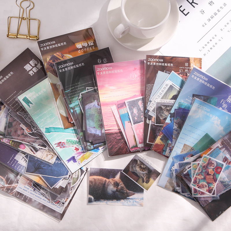 40pcs/pack Coffee Travel Scenery Stationery Sticker Set Scrapbooking Decorative Stickers Diary Album Planner Journal Diy Label